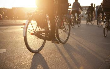 Rückansicht mehrerer Radfahrer, die bei Sonnenuntergang auf der Straße fahren